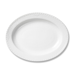 White Fluted Half Lace Oval dish, 36.5cm
