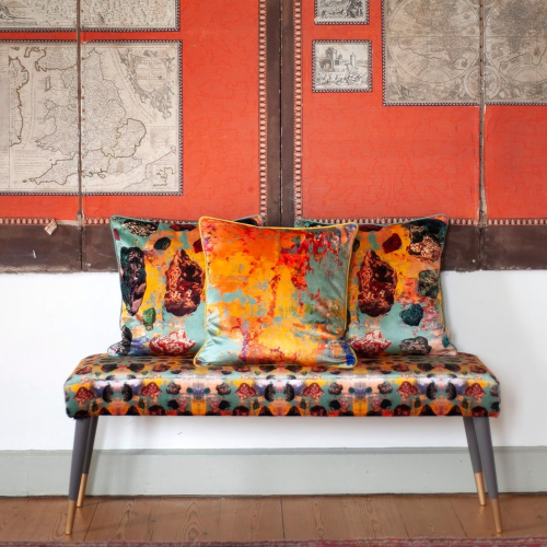 Stucco pebbles Square velvet cushion, W49 x H49 cm, Orange
