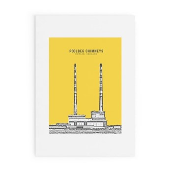 Dublin Landmark Collection - Poolbeg Chimneys Framed print, A4 size, yellow/black