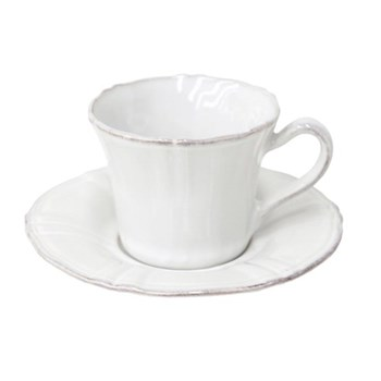 Village Set of 6 teacups and saucers, White