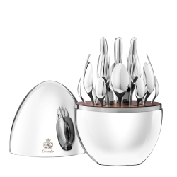 Mood 24 piece cutlery set with storage capsule for 6 people, H30 x D20cm, Christofle Silver
