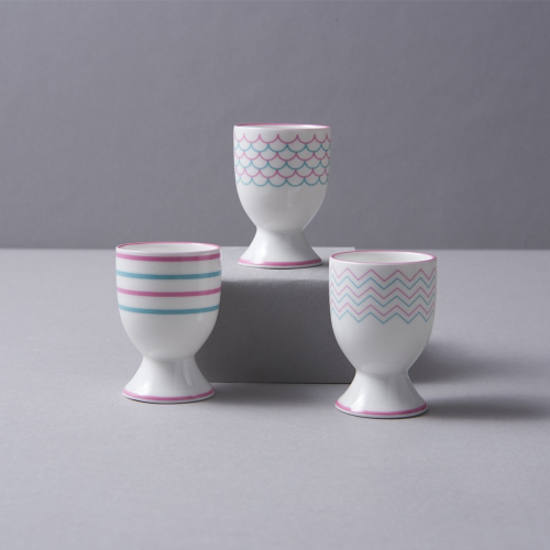 Ripple Egg cup, H6.5cm, Pink/Turquoise