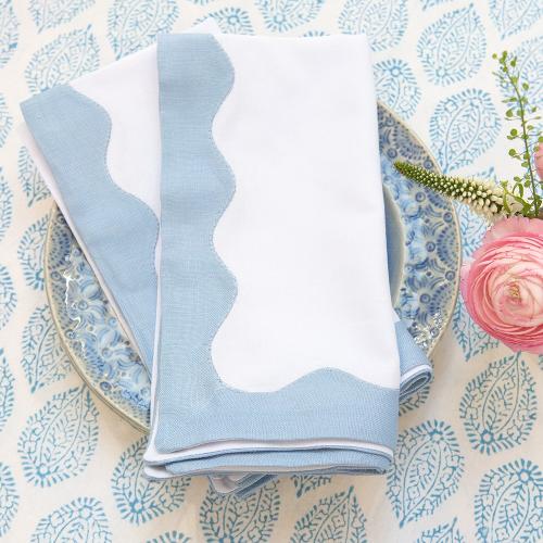Wave Set of 4 napkins, 45 x 45cm, Blue Cotton