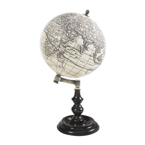Trianon Globe, H27.5 x D14cm, Ivory/Honey Distressed Rosewood