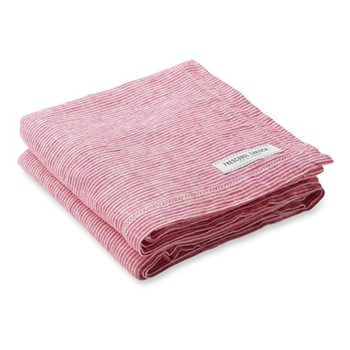 Stripe Linen beach towel, pink and white