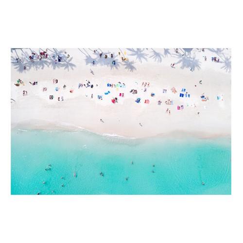 Tropical Beach with Palm Tree Shadows, Thailand Mounted print, H51 x W76cm, Perspex
