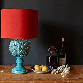 Artur Large table lamp - base only, H38 x W23cm, turquoise crackle glaze