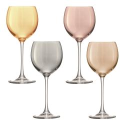 Polka Set of 4 wine glasses, 400ml, assorted metallics
