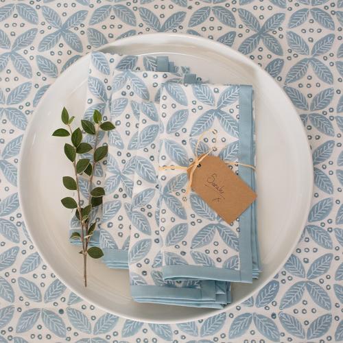 Berry Tablecloth, 150 x 300cm, blue cotton