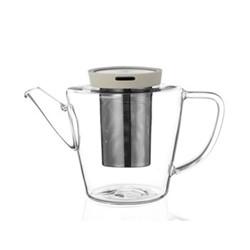 Infusion Teapot, 1 litre, buttermilk/clear