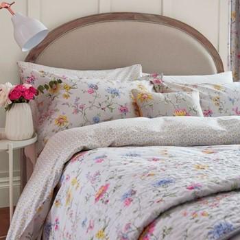 Fleuri King size duvet cover, L220 x W230cm, grey