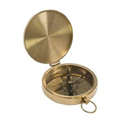 Pocket compass, H1.5 x W10 x L8.5cm, brass