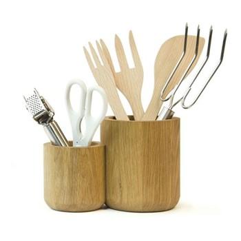 Double utensils pot, H14 x W22 x D12.5cm, oak