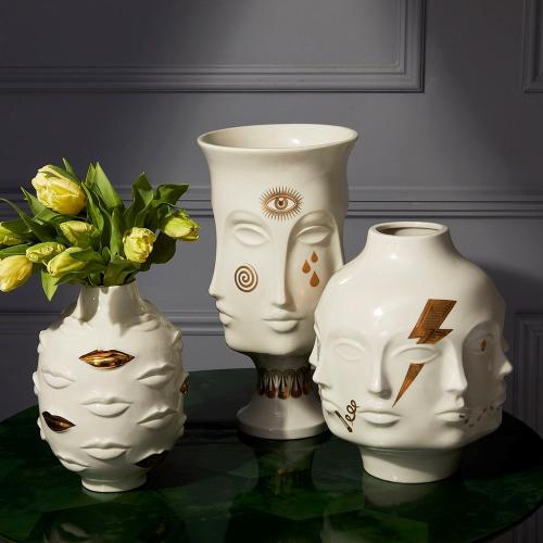 Gilded Muse Giant dora maar vase, H38 x W20cm, White/Metallic Gold