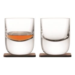 Whisky Pair of Renfrew tumblers with walnut coasters, 270ml, clear