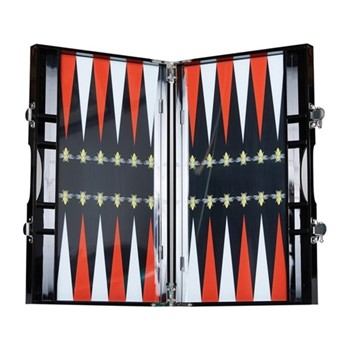 Bee Backgammon set, L35.3 x W21.4 x D4.7cm, black and red