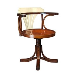 Purser Chair, H78.5 x W61 x L55cm, ivory/honey distressed maple
