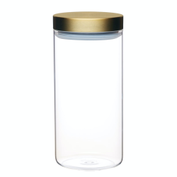 Large storage jar with lid, 10 x 22.5cm, Glass With Burnished Brass Lid