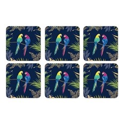 Parrot Set of 6 coasters, 10.5 x 10.5cm, navy