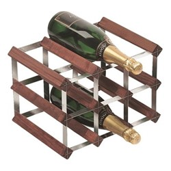 9 bottle wine rack, H23 x W33 x D23cm, dark/galvanised steel