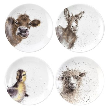 Wrendale Designs Set of 4 assorted coupe plates, 16.5cm