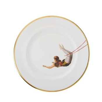 Trapeze Girl Dinner plate, 27cm, crisp white/burnished gold edge