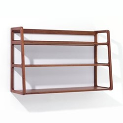 Agnes by Kay + Stemmer Wall shelving unit, W80 x D25 x H50cm, walnut