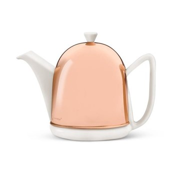 Manto Teapot, 1 Litre, copper and white