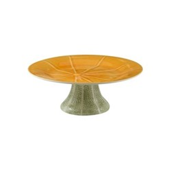 Melon Cake stand, 32.6 x 12cm, green/orange