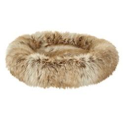 Mini Mini round faux fur pet bed, brown
