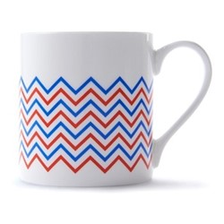 Wave Mug, H9 x D8.5cm, red/blue