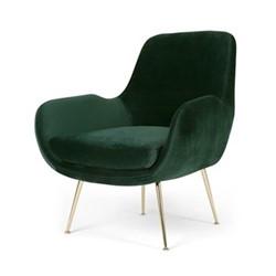 Moby Accent chair, H87 x W73 x D76cm, pine green velvet