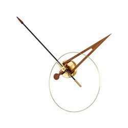 Cris Wall hanging clock, D80cm, polished brass/walnut