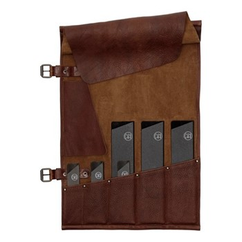 5 Pocket knife roll (knives not included), H51 x W33.5cm, dark brown