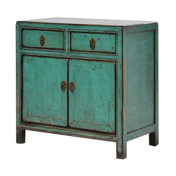 Wvyern Small Chinese cupboard with 2 doors, 67 x 67 x 37cm, painted green