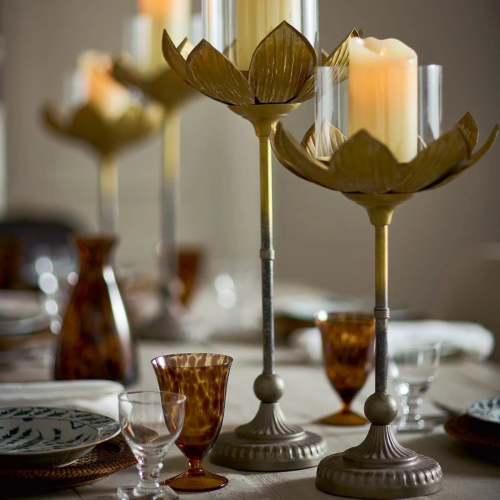 Lotus Candle holder, H60 x L28 x W28cm, gold