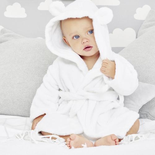 Hydrocotton Baby robe, 6-12 months, White