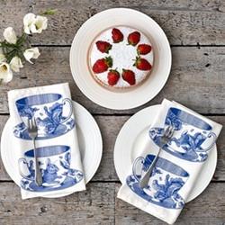 Teacup Set of 4 napkins, 45 x 45cm, white/delft blue