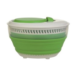 Small collapsible salad spinner, 25.7 x 26 x 25.4cm, green/white