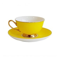 Gold rim Set of 4 teacups and saucers, H6x Dia15cm, yellow