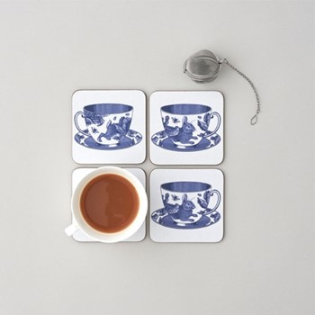Teacup Set of 4 coasters, 10 x 10cm, white/delft blue