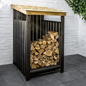 Chelwood Log store, 147 x 89 x 89cm, black