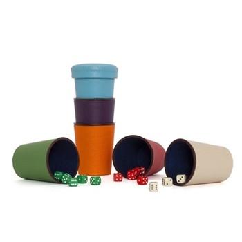 Classic perudo set, includes 6 cups & 30 dice, multi coloured calfskin leather