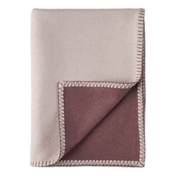 Blanket Stitched Reversible woven blended throw, 190 x 140cm, mauve taupe & mulberry