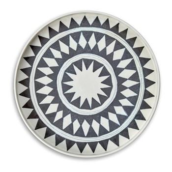Tribal Diamond round platter, blue and white