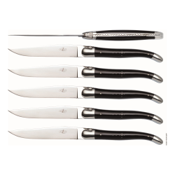 Set of 6 steak knives, black horn tip handle with stainless steel bolsters