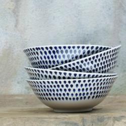 Indigo Drop Cereal bowl, 17cm, Cream And Indigo