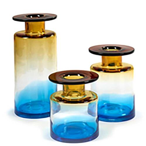 Wind & Fire Large vase, H40 x D19cm, Amber & Blue