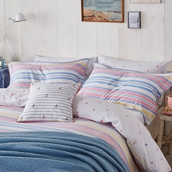 Summer Fruit Stripe Super king size duvet cover, L220 x W260cm, multi