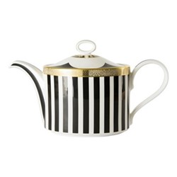Satori Black Large teapot - charnwood, H15cm, black/white/gold
